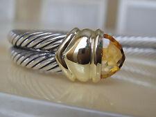 $1350  DAVID YURMAN 14K GOLD,SS DOUBLE CABLE GOLDEN CITRINE BRACELET