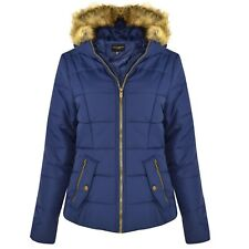 New Womens Ladies Quilted Designer Padded Bubble Fur Hooded Puffer Coat Jacket