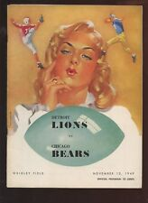 November 13 1949 NFL Program Detroit Lions at Chicago Bears EX