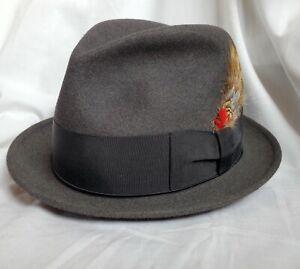 "Borsalino ""MISTO"" charcoal felt hat fedora 7-1/8"