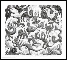 MC Escher Flächenfüllung II Poster Kunstdruck mit Alu Rahmen in schwarz 55x65cm