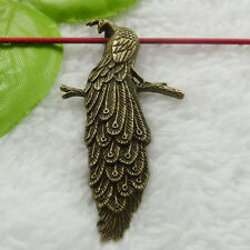 Free Ship 20 pcs bronze plated peacock pendant 60x33mm #674
