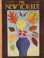 1960 New Yorker October 15 - Vase of Autumn Leaves