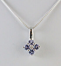 4 Tanzanites 3 mm Round w/ Diamond Accent Necklace 14 K White Gold Over Sterling