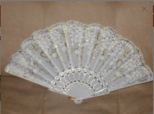 Vintage White & Gold Folding Fan