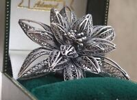Retro Vintage Hand Crafted 925 Sterling Silver Amazing Flower Women Pin Brooch