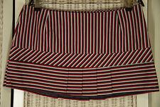 "BEN SHERMAN Pleated Mini Skirt L 36"" Waist Striped Cotton Kilt Red White Blue"