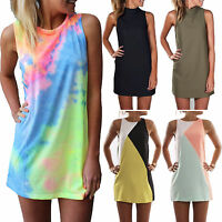 Plus Size Women Sleeveless Shift Dress Short Mini Dress Summer Beach Blouse Tops