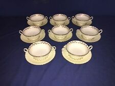 MINTON china ~ Gold Cheviot Footed Cream Soup Bowl & Saucer (8 Sets) ~ Excellent