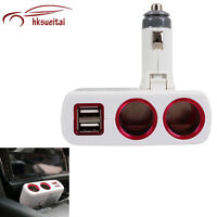 Two Way Charger Adapter Dual USB Car Cigarette Lighter Splitter White Led New
