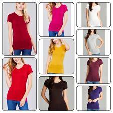Basic Crew neck T-Shirt  Women Short Sleeve Tee Shirt  T-Shirt Stretch Top (S-L