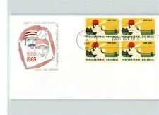 Professional BASEBALL 100th Anniversary First Day of Issue, 1969 with Block of 4