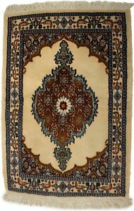 Hand Knotted Cream Small 2X3 Vintage Floral Medallion Oriental Rug Decor Carpet