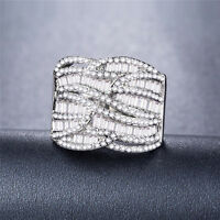Luxury 925 Silver Jewelry White Sapphire Women Wedding Engagement Ring Size 7-9