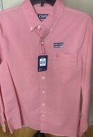 Men's-CHAPS Red Plaid Easy Care Long Sleeve Button Down Shirt Size Large- NWT