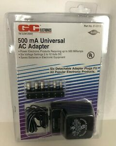 GC Electronics 61-6012 Universal AC Adapter 3 4.5 6 7.5 9 12V DC 500mA NIP New