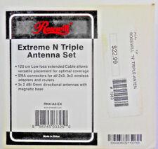NEW! ROSEWILL EXTREME N TRIPLE ANTENNA 3X 2DBI OMNID ANTENNA W/ MAGNET RNX-A2-EX