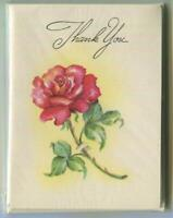 VINTAGE GARDEN RED ROSE FLOWER FORGET ME NOT GREETING THANK YOU ART SEALED CARDS