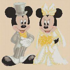 DISNEY cross stitch chart Mickey Mouse & Minnies Matrimonio Lemon Flowerpower 37-uk