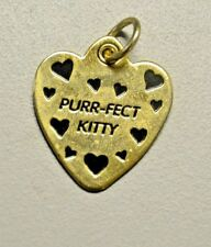 """Cat Kitty Collar Charm Heart Shaped """"Purr-fect Kitty"""" Gold Color with Hearts"""