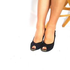 15b287fb6d Bruno Magli Sz 7.5 AA Black Leather Peep Toe Slingback Women's Heels ITALY