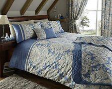 "Bainbridge Blue, Cream and Beige Floral Effect 66"" x 72"" Drop Curtains"