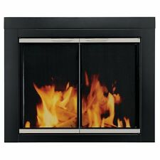 Pleasant Hearth Black & Nickel Glass Fireplace Door Alsip Medium AP-1131 Screens