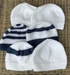 Bunch Of 6 New Hand Knitted Newborn Baby Hats