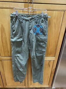 """Da-Nang XS 32"""" Waist Army Green Embroidered Button Fly Cargo Pants"""