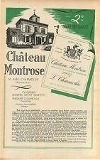 "ADVERT "" Mini Poster "" Bordeaux Chateau Montrose M Albe Charmolue Vineyard Wine"