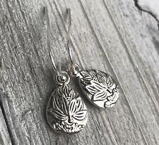 Min Favorit Lotus Flower Charm & Silver Pl Artisan Drop Earrings Cute!