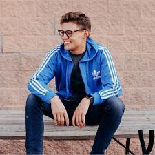 adidas Men's Originals Trefoil Zip Hoodie Royal Blue L