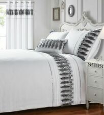 Plain White Duvet Quilt Cover Bedding Set with Feather, Sequin & Glitter Finish