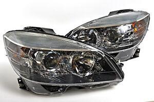 Mercedes C Class W204 2008-2011 Halogen Headlights Front Lamps PAIR OEM