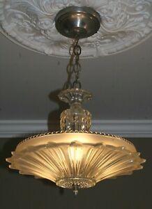 Antique frosted glass sunflower art deco light fixture ceiling chandelier