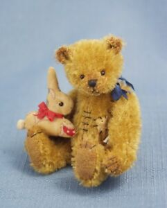 """DEB CANHAM  """" OLD BAXTER"""" AGED MOHAIR-MINIATURE -JOINTED-WITH CALICO BUNNY"""