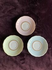 More details for colclough ballet harlequin 3 x pastel bone china saucers