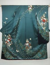 P4025M04z1160 Japanese Kimono Silk FURISODE Dark green-gray Flowers