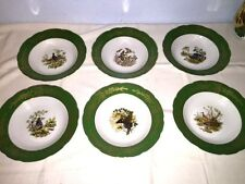 "6 RGK Leander 1946 Bohemia Porcelain ~ Wildlife 9"" Rimmed Soup Bowls - Excellent"