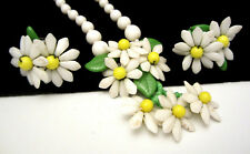 Vintage Signed Germany Milk Glass Daisy Flower Necklace & Screw Earring Set A20