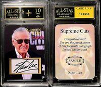 Stan Lee Supreme Cuts Die Cut Sample Card Graded 10 Forever Encased