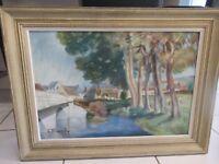 E.MAUVILLY, ancienne peinture huile sur toile paysage