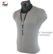 Mens Hip Hop 10mm Mette Black Blue Bead Shamballa Ball Rosary Necklace HR409 HBL