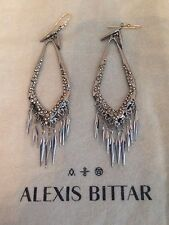 Alexis Bittar SilveTone FRINGE Earrings White Swarovski Crystal Pierced Wires 4""