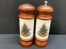 """Pfaltzgraff  """"CHRISTMAS TREE"""" Heritage ~ Pepper Mill & Salt Shaker w/Wood ~ 7"""""""