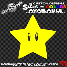 Super Mario Power Star Custom Vinyl sticker 3DS Wii Nintendo NES SNES N64 Switch