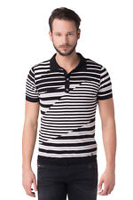 DIESEL Size L Men's L-POLLUCER Striped Pattern Knitted Polo Shirt Made In Italy