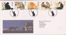 GB ROYAL MAIL FDC 1995 CATS SET BUREAU PMK