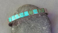Vintage Native American Blue Green Turquoise Inlay Row Cuff Bracelet