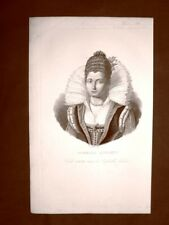 Isabella Andreini Canali Padova 1562 – Lione 10 giugno 1604 Acquaforte 1849